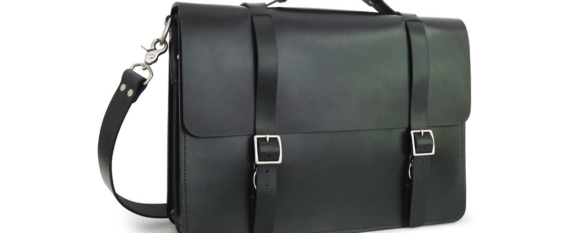 Front view of our Black Messenger Bag