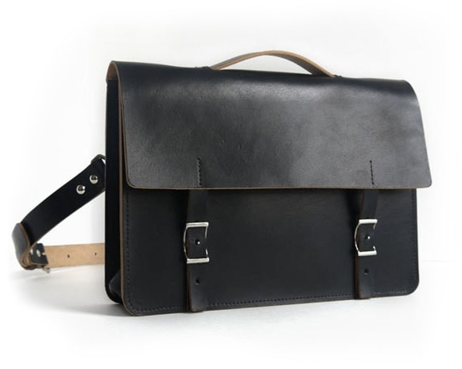 Handmade Black Leather Messenger Bag-Veg-tan - basader