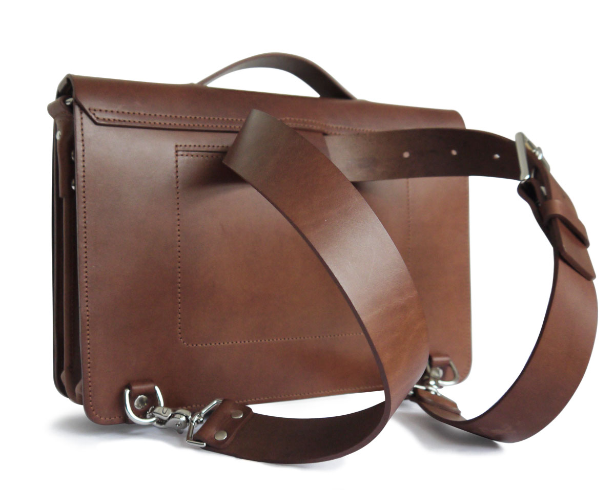 Transformable, 3-in-1 Leather Messenger Bag-Veg-tan - basader