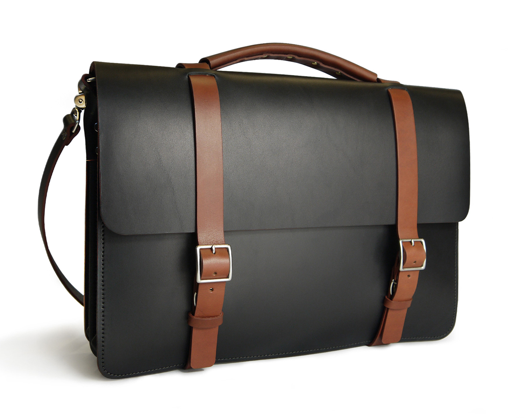 1bf32eddfcbc Handmade Two-Tone Classic Messenger Bag with divided Gusset