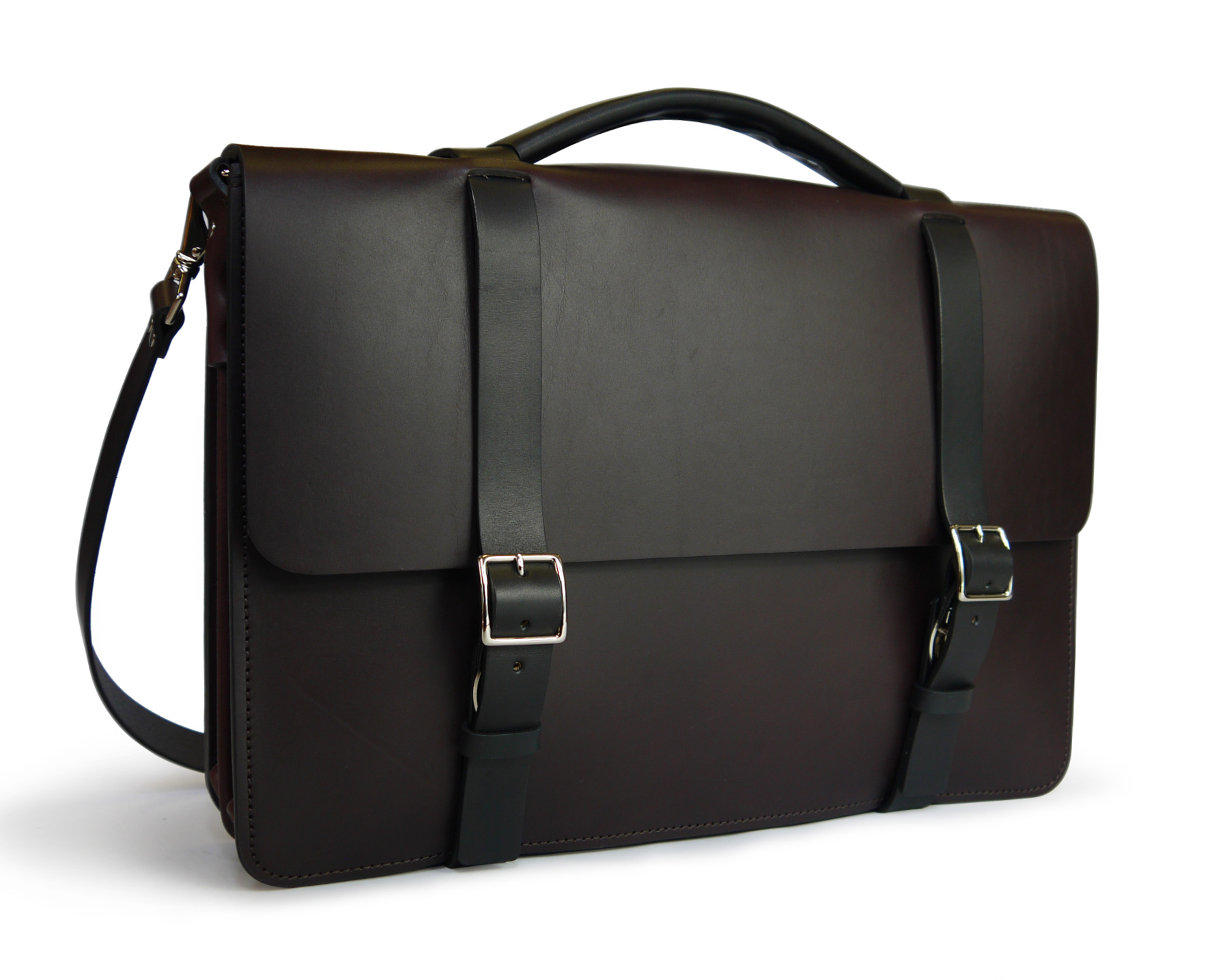 5d4a59cd9101d Handmade Two-Tone Classic Messenger Bag with divided Gusset